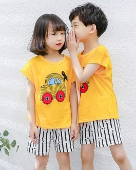 Yellow Car Printed Kids Short Night Suit